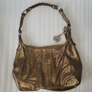 Metallic bronze leather purse